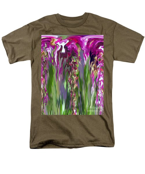 Pink And Green Floral Men's T-Shirt  (Regular Fit) by Cedric Hampton