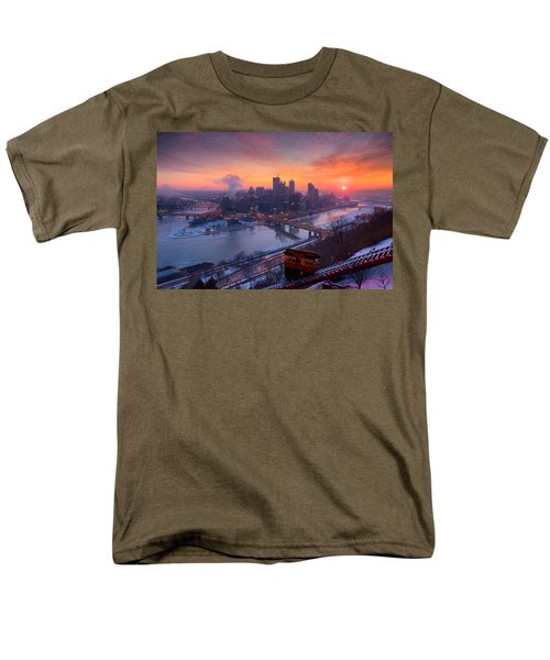 Pittsburgh Skyline Winter 2 Men's T-Shirt  (Regular Fit) by Emmanuel Panagiotakis