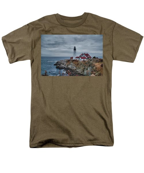 Men's T-Shirt  (Regular Fit) featuring the photograph Portland Headlight 14440 by Guy Whiteley