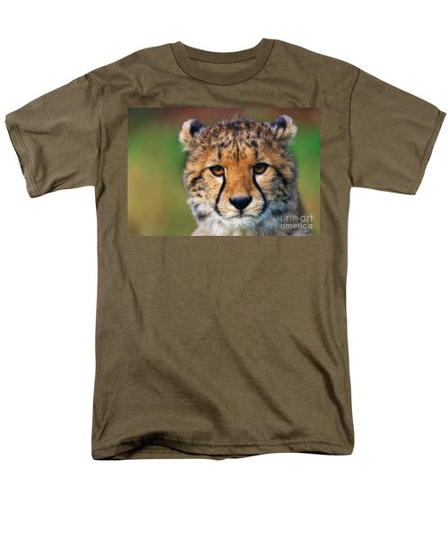 Men's T-Shirt  (Regular Fit) featuring the photograph Portrait Of A Cheetah Cub by Nick  Biemans