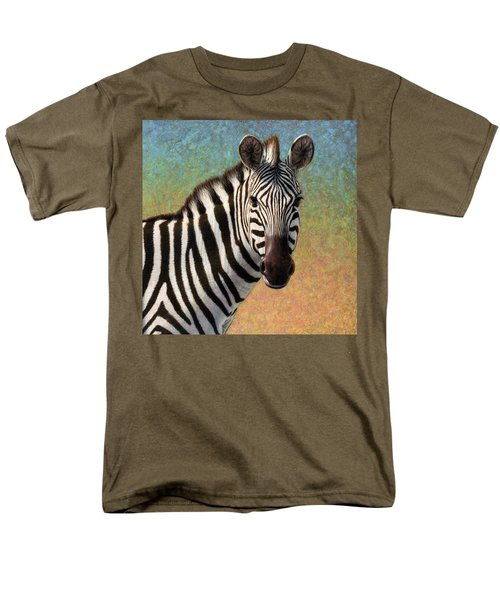 Men's T-Shirt  (Regular Fit) featuring the painting Portrait Of A Zebra - Square by James W Johnson