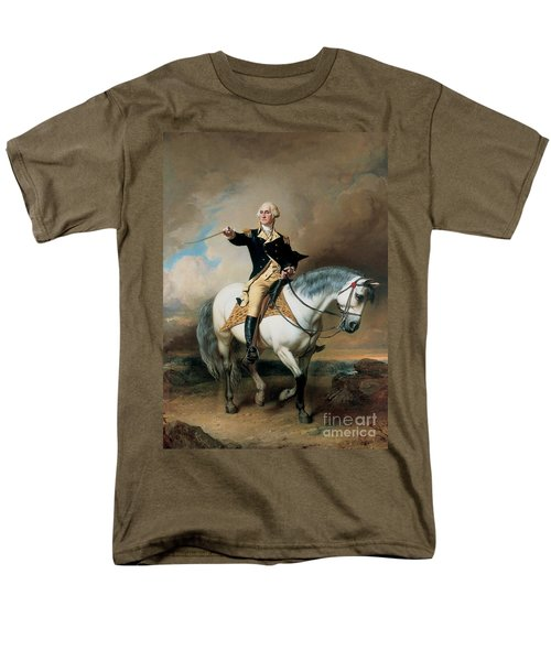 Portrait Of George Washington Taking The Salute At Trenton Men's T-Shirt  (Regular Fit) by John Faed