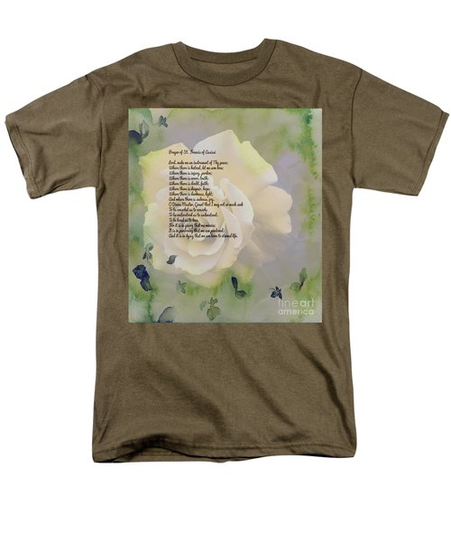 Prayer Of St. Francis And Yellow Rose Men's T-Shirt  (Regular Fit) by Barbara Griffin