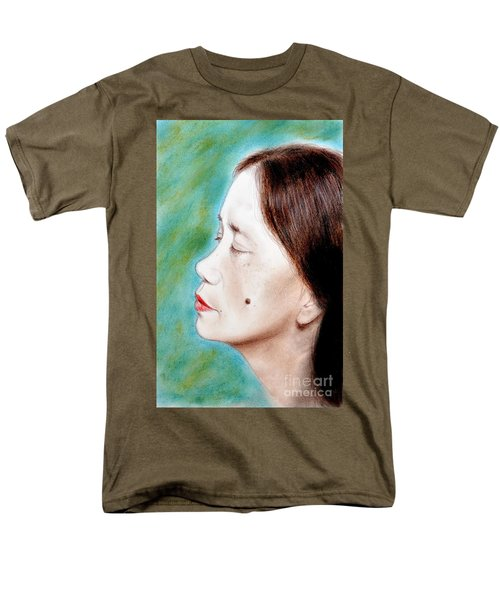 Men's T-Shirt  (Regular Fit) featuring the drawing Profile Of A Filipina Beauty With A Mole On Her Cheek  by Jim Fitzpatrick