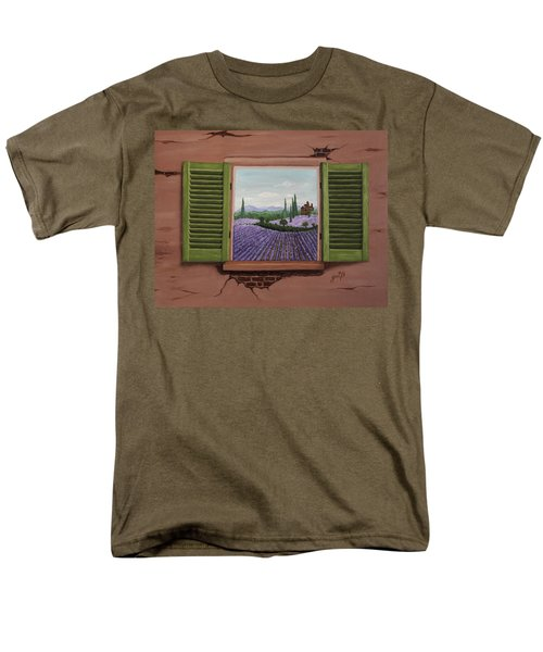 Men's T-Shirt  (Regular Fit) featuring the painting Provence Lavander Fields Original Acrylic by Georgeta Blanaru