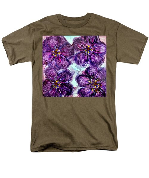 Men's T-Shirt  (Regular Fit) featuring the painting Purple Daisies Alcohol Inks by Danielle  Parent