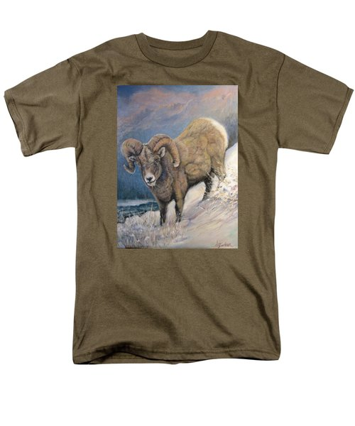 Men's T-Shirt  (Regular Fit) featuring the painting Ram In The Snow by Donna Tucker