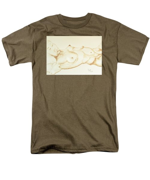 Men's T-Shirt  (Regular Fit) featuring the drawing Reclining Nude In Walnut Ink by Rand Swift