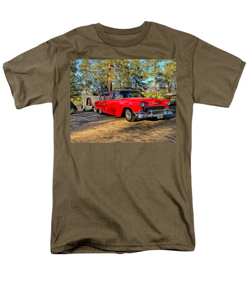 Red '55 Chevy Wagon Men's T-Shirt  (Regular Fit) by Michael Pickett