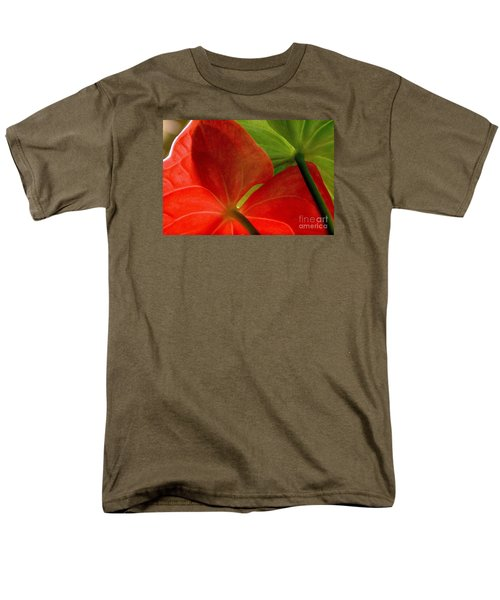 Men's T-Shirt  (Regular Fit) featuring the photograph Red And Green Anthurium by Ranjini Kandasamy