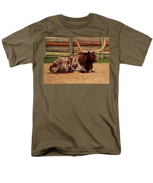 Red And White Texas Longhorn Men's T-Shirt  (Regular Fit) by Jonathan Davison