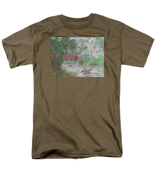 Red Bridge At Wollongong Botanical Gardens Men's T-Shirt  (Regular Fit) by Pamela  Meredith