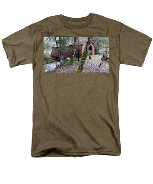 Red Covered Bridge  Men's T-Shirt  (Regular Fit) by Susan Garren
