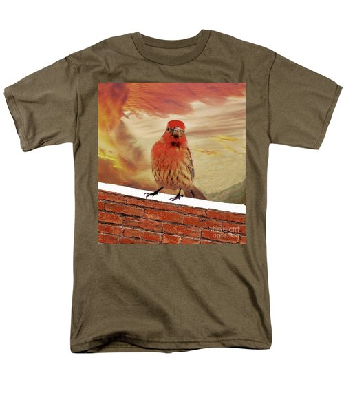 Red Finch On Red Brick Men's T-Shirt  (Regular Fit) by Janette Boyd