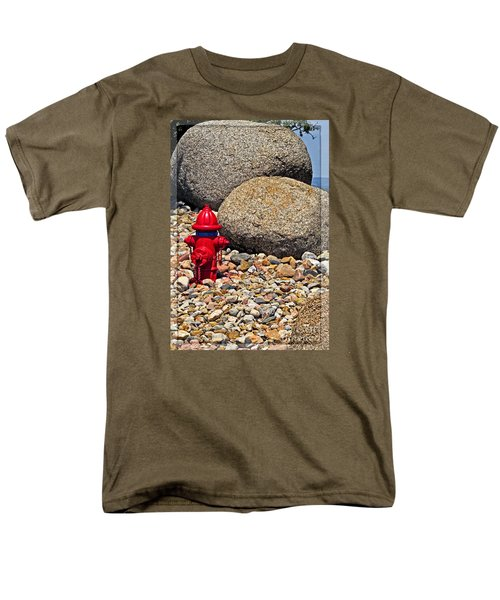 Men's T-Shirt  (Regular Fit) featuring the photograph Red Fire Hydrant On Rocky Hillside by Ella Kaye Dickey