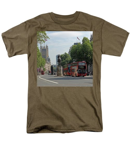 Red London Bus In Whitehall Men's T-Shirt  (Regular Fit) by Tony Murtagh