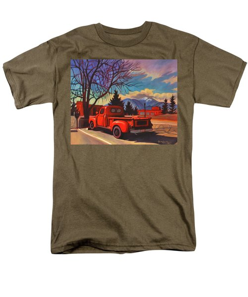 Men's T-Shirt  (Regular Fit) featuring the painting Red Truck by Art James West