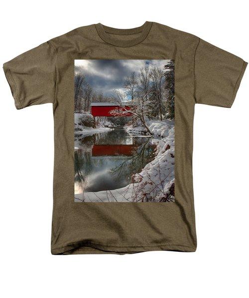 reflection of Slaughterhouse covered bridge Men's T-Shirt  (Regular Fit) by Jeff Folger