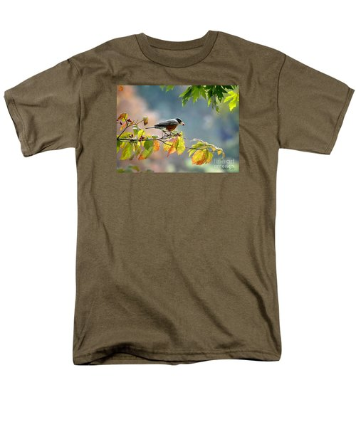 Men's T-Shirt  (Regular Fit) featuring the photograph Robin With Red Berry by Nava Thompson