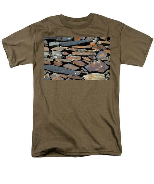 Men's T-Shirt  (Regular Fit) featuring the photograph Rock Wall Of Slate by Bill Gabbert