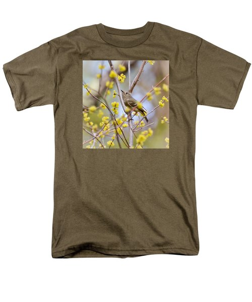 Men's T-Shirt  (Regular Fit) featuring the photograph Ruby-crowned Kinglet by Kerri Farley