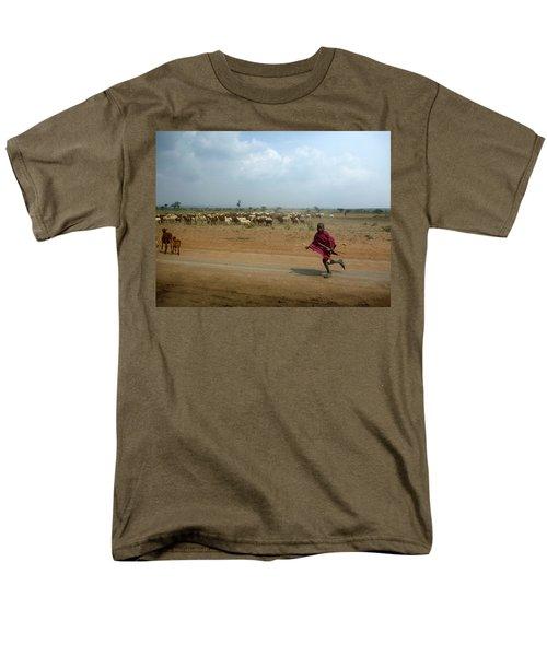 Running Boy Men's T-Shirt  (Regular Fit) by Debi Demetrion