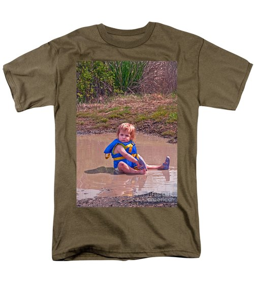Men's T-Shirt  (Regular Fit) featuring the photograph Safety Is Important - Toddler In Mudpuddle Art Prints by Valerie Garner