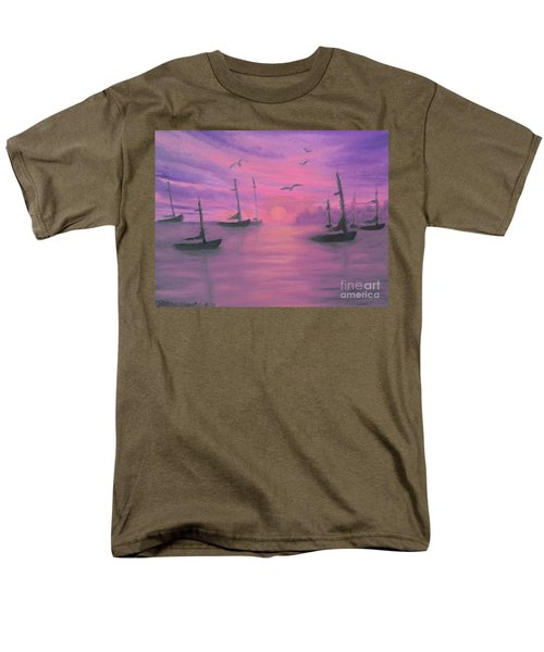 Men's T-Shirt  (Regular Fit) featuring the painting Sails At Dusk by Holly Martinson