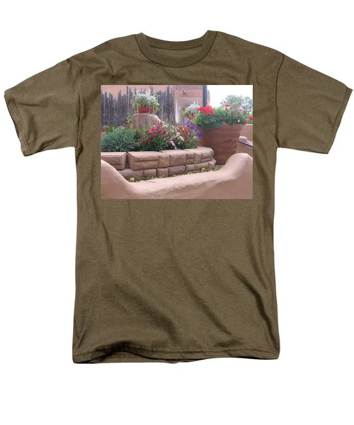 Men's T-Shirt  (Regular Fit) featuring the photograph Santa Fe Adobe Patio by Dora Sofia Caputo Photographic Art and Design