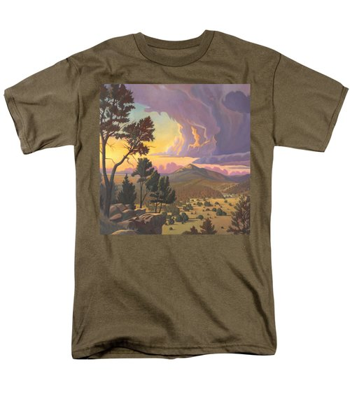 Men's T-Shirt  (Regular Fit) featuring the painting Santa Fe Baldy - Detail by Art James West