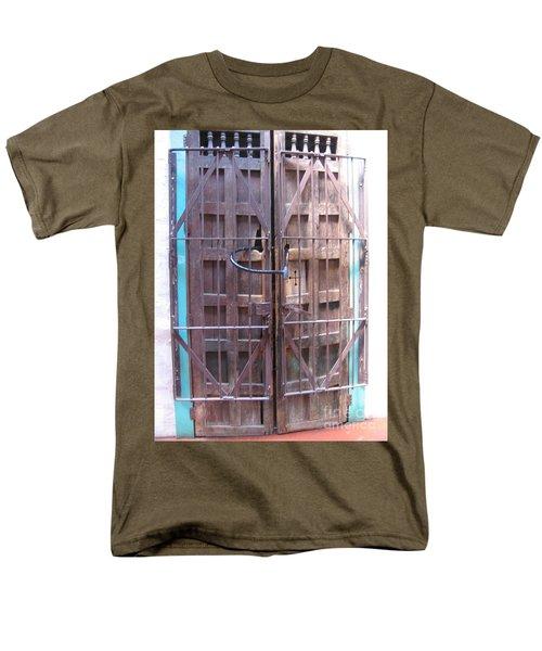 Men's T-Shirt  (Regular Fit) featuring the photograph Santa Fe Old Door by Dora Sofia Caputo Photographic Art and Design