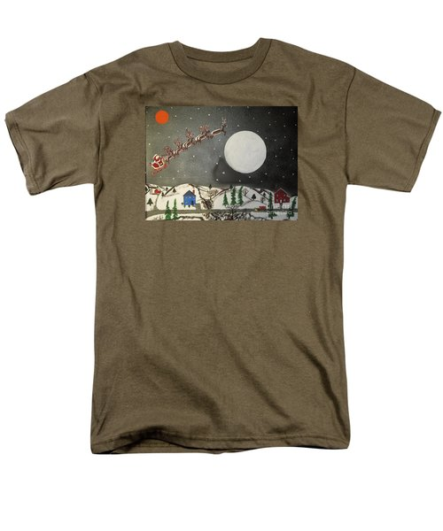Men's T-Shirt  (Regular Fit) featuring the painting Santa Over The Moon by Jeffrey Koss