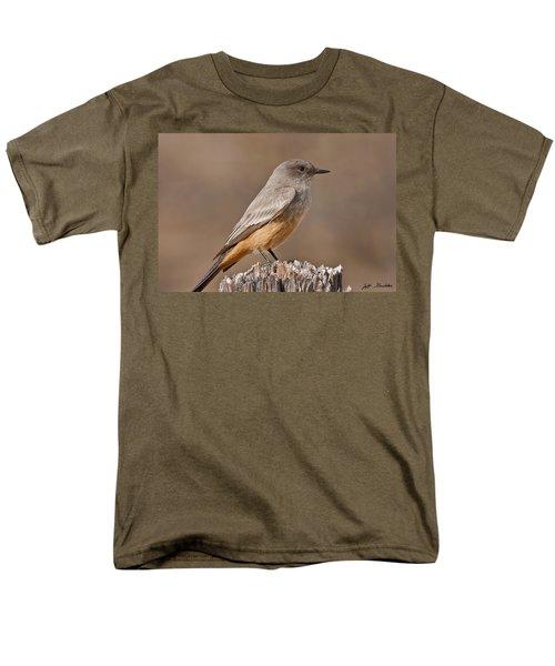 Say's Phoebe On A Fence Post Men's T-Shirt  (Regular Fit) by Jeff Goulden