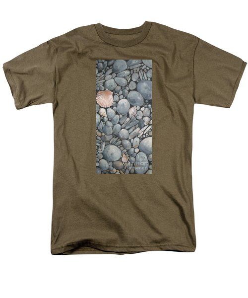 Scallop Shell And Black Stones Men's T-Shirt  (Regular Fit) by Mary Hubley
