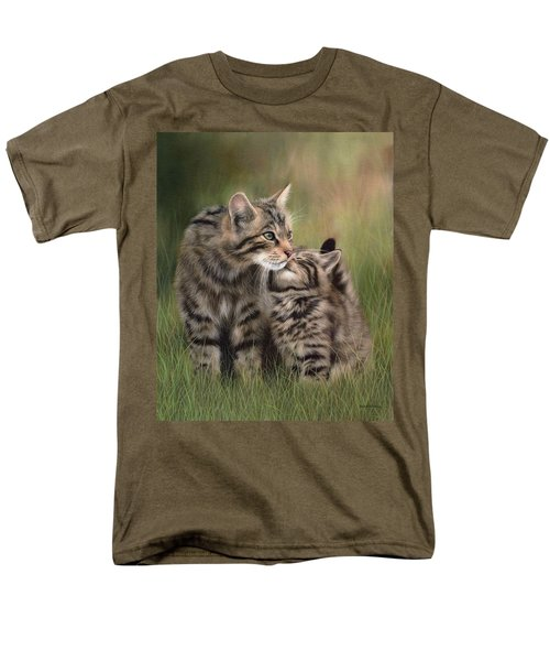 Scottish Wildcats Painting - In Support Of The Scottish Wildcat Haven Project Men's T-Shirt  (Regular Fit) by Rachel Stribbling