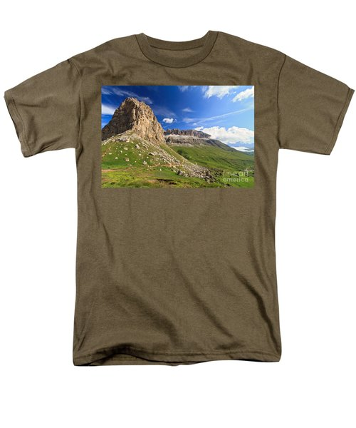 Men's T-Shirt  (Regular Fit) featuring the photograph Sella Mountain And Pordoi Pass by Antonio Scarpi