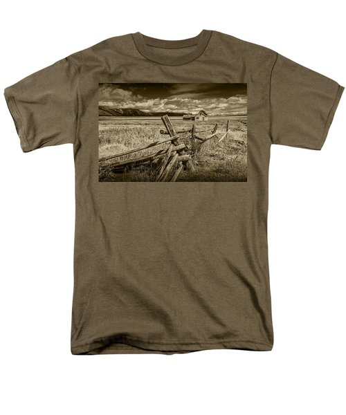 Sepia Colored Photo Of A Wood Fence By The John Moulton Farm Men's T-Shirt  (Regular Fit) by Randall Nyhof