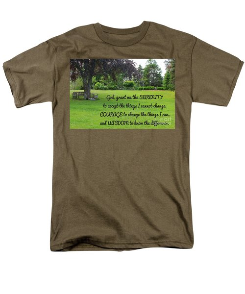Serenity Prayer And Park Bench Men's T-Shirt  (Regular Fit) by Barbara Griffin