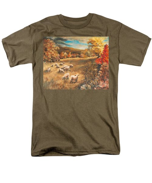 Men's T-Shirt  (Regular Fit) featuring the painting Sheep In October's Field by Joy Nichols
