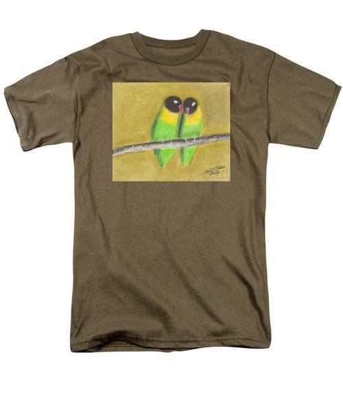 Men's T-Shirt  (Regular Fit) featuring the pastel Sleeping Love Birds by David Jackson