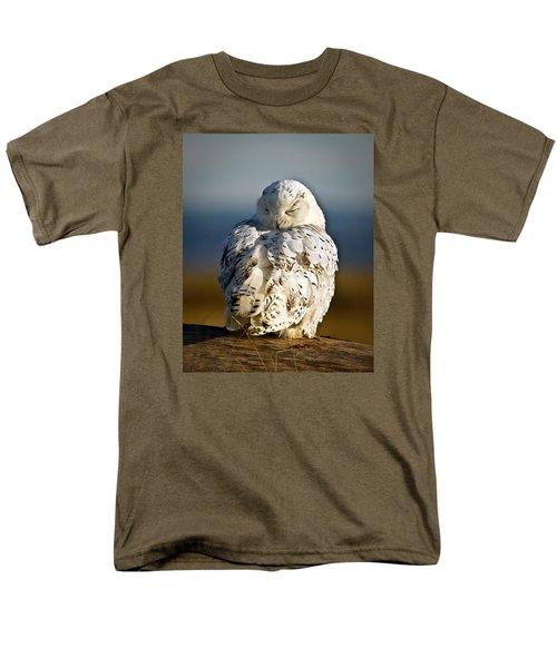 Sleeping Snowy Owl Men's T-Shirt  (Regular Fit) by Steve McKinzie