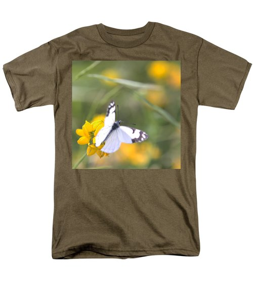 Men's T-Shirt  (Regular Fit) featuring the photograph Small White Butterfly On Yellow Flower by Belinda Greb