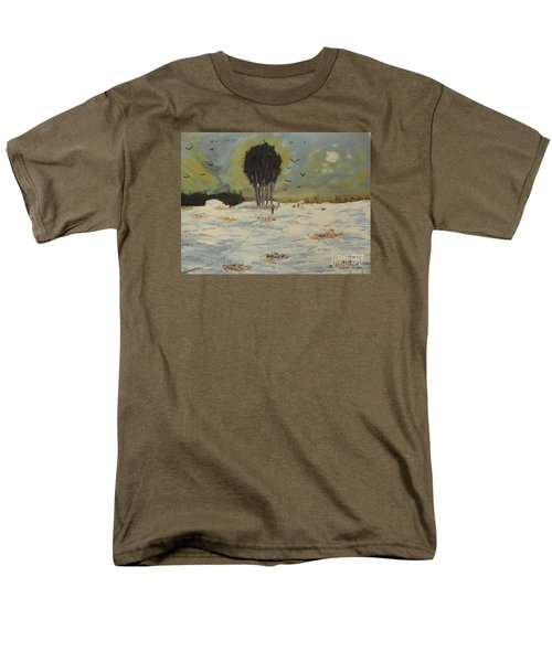 Men's T-Shirt  (Regular Fit) featuring the painting Snow At Christmas by Pamela  Meredith