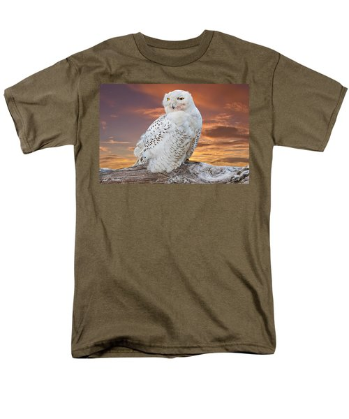 Snowy Owl Perched At Sunset Men's T-Shirt  (Regular Fit) by Jeff Goulden