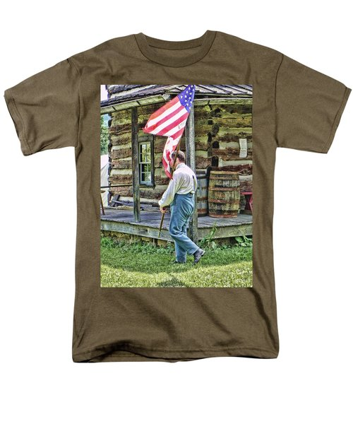 Men's T-Shirt  (Regular Fit) featuring the photograph Soldier At Bedford Village Pa by Kathy Churchman