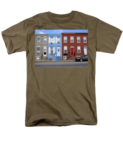 Men's T-Shirt  (Regular Fit) featuring the photograph South Baltimore Row Homes by Brian Wallace