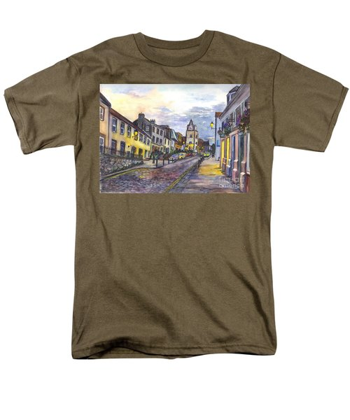 Men's T-Shirt  (Regular Fit) featuring the painting Nightfall At South Queensferry Edinburgh Scotland At Dusk by Carol Wisniewski
