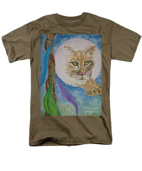 Men's T-Shirt  (Regular Fit) featuring the painting Spirit Of The Mountain Lion by Ellen Levinson
