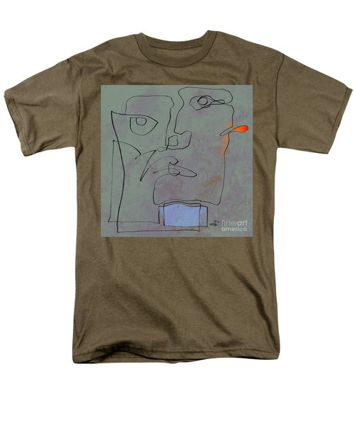 Men's T-Shirt  (Regular Fit) featuring the painting Squigglehead With Blue Scarf And Red Ear  by Paul Davenport