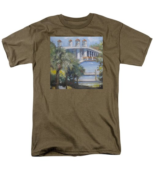 St Augustine Bridge Of Lions Men's T-Shirt  (Regular Fit) by Mary Hubley